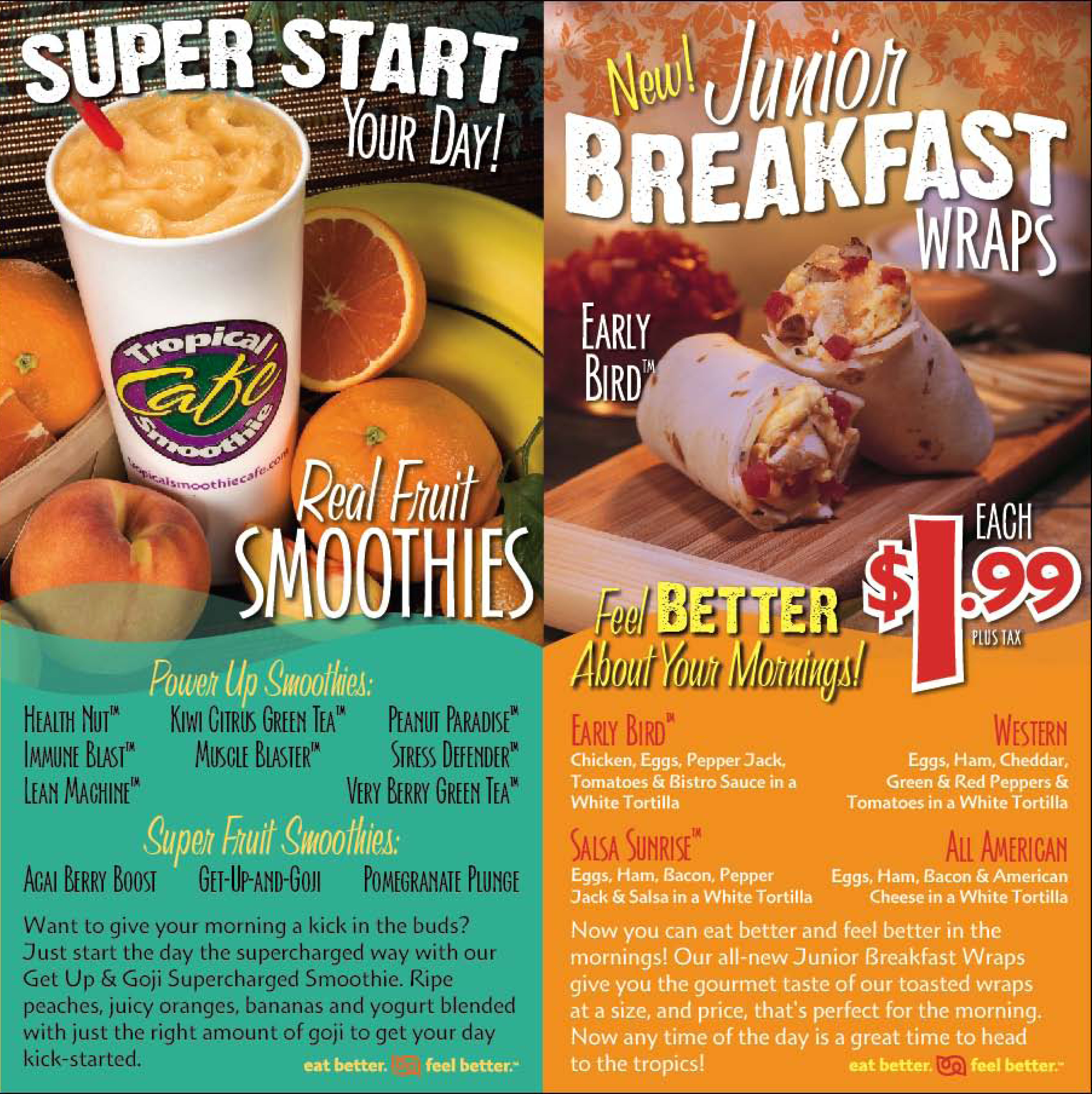 Tropical Smoothie Breakfast Specials